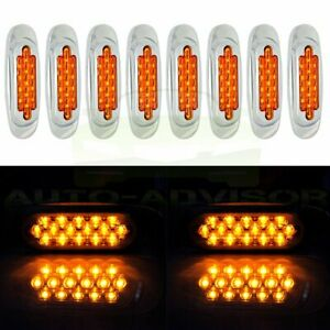 8pcs 16 Led Amber Side Marker Sealed Turn Signal Lamp For Kenworth Peterbilt
