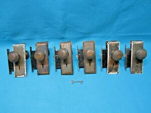Lot Of 6 Sets Vintage Antique Ornate Door Knobs Locks Plates Metal Brass
