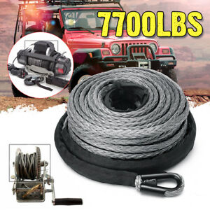1 4 X 50 7700lbs Synthetic Winch Line Cable Rope With Sheath Atv Utv Gray