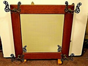 Victorian Antique Beveled Glass Oak Wall Hall Tree Mirror Coat Rack