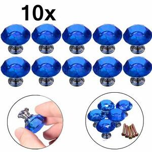 10x 30mm Blue Clear Crystal Glass Door Knobs Drawer Cabinet Kitchen Handles