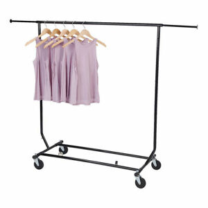 Clothing Rack Rolling Black Folding Single Bar Rail Salesman Collapsible Ez Fold