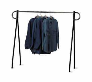 Clothing Rack Black Chrome Single Rail Steel Clothes Salesman 60 X 60