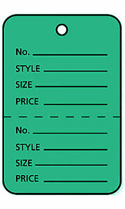 3000 Perforated Tags Price Sale 1 W X 2 Two Part Green Coupon Unstrung