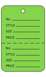 3000 Perforated Tags Price Sale Large 1 X 2 Two Part Light Green Coupon