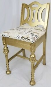 Antique Louis Xvi Gold Vanity Chair Seat French Vintage Wooden