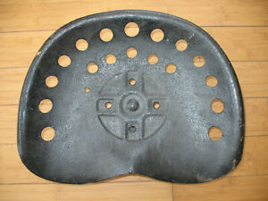 Vintage Tractor Seat Metal Pan Seat Implement Black W Bracket No Name