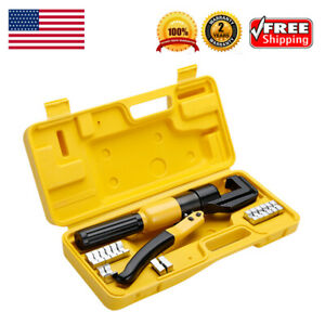 10 Ton Hydraulic Crimper Plier Tool With 8 Dies Carry Case For Wire Cable Lug