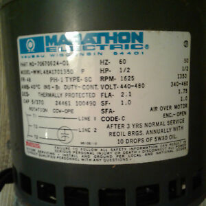 Marathon Electric Motor Hp 1 2 A C Rpm 1625 Thermally Protected