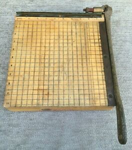 Vintage Ingento No 3 Paper Cutter Guillotine Wood Cast Iron Ideal School 10x10