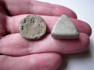 Lot Of 2 Ancient Roman Marble Lead Game Legionary Knuckle Gaming Pieces 1 2ad