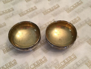 Pair Of Tiffany Co Sterling Silver Footed Salt Dishes Gold Gilt Bowls 4374