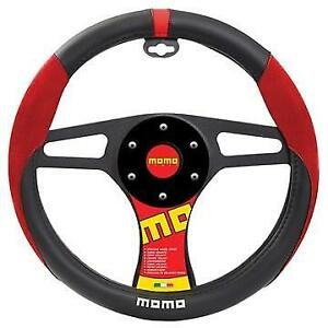 Momo Suede Steering Wheel Cover Black Red White
