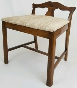 Vintage Victorian Vanity Bench Piano Seat Stool Chair Federal Antique