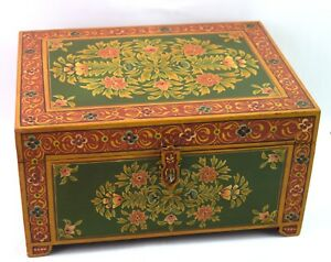 Vintage Wooden Old Tool Box Storage Box Keep Safe Box Hand Painted I71 192 Us