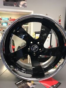 22 Forgiato Sevolta Black With Chrome Lip 22x9 22x10 5 5x120 2 Piece Rim Set