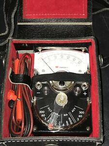Triplett 310 c tel Hand sized Voltmeter In Leather Case 49 10766 W leads Nice