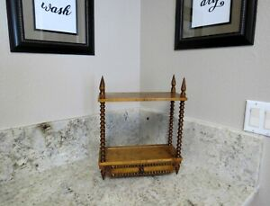 Vintage Hand Turned Spindle 15 Tall Wood Curio Display Cabinet 2 Shelf Drawer