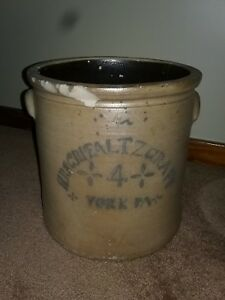 Pfaltzgraff York Pa Antique 4 Gallon Decorated Stoneware Crock