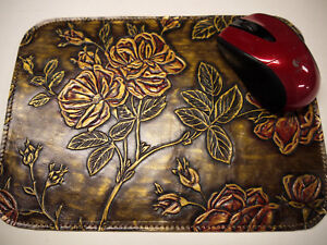 Leather Floral Mouse Pad Unique Design Made In Usa