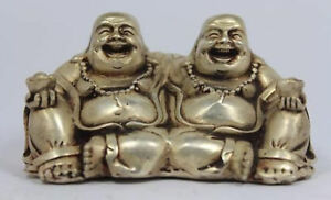 Chinese Old Antique White Copper Handwork Buddha Statue