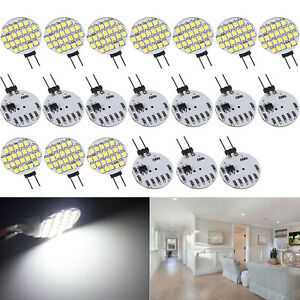 20 X Pure White G4 24 Smd Base Disc Type Side Pin Marine Reading Led Light Bulbs