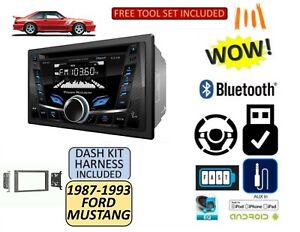 1987 1993 Ford Mustang Bluetooth Cd Usb Aux Double Din Radio Stereo Dash Kit