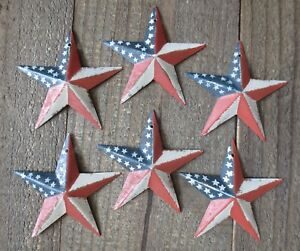 Set Of 6 Red White Blue Flag Barn Star Patriotic Americana Primitive 3 5 Inch