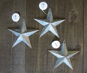 Lot Of 3 Galvanized Primitive Rusty Metal Stars 6 Rustic Country Tin Barn Stars