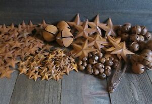 Huge Lot Rusty Metal Barn Stars Jingle Bells Wire Primtive Country Crafting