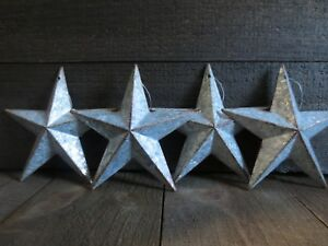 Lot Of 4 Galvanized Primitive Rusty Metal Barn Stars 6 Inches Rustic Country Tin