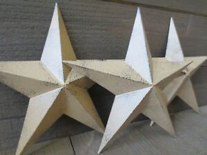 Set Of 3 Country Tan Primitive 14 Inches Barn Stars Rustic Wall Decor Tin Metal