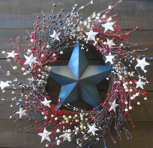 Patriotic Barn Star Wreath Red White Blue Pip Berry Usa Americana Decor Flag 22