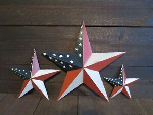 Set Of 3 Red White Blue Flag Barn Star Patriotic Americana Primitive 12 8 5