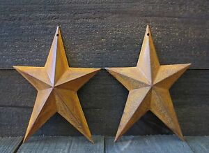 Lot Of 2 Rusty Whimsical Tin Barn Stars 8 Inches Primitive Country Rusted Metal