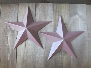 Lot Of 2 Country Primitive 14 Burgundy Barn Stars Rustic Wall Decor Dimensional
