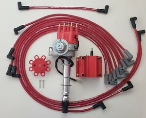 Chevy Small Block Red Small Cap Hei Distributor 8 5mm Wires Under Exha