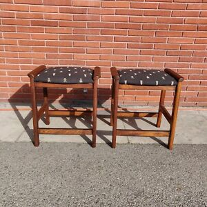 Vintage Mid Century Modern Pair Of Bar Counter Stools