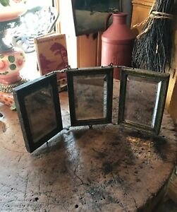 Antique 1900s Trifold Shaving Mirror Beveled Hang Or Stand Portable Primitive