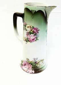Hand Painted Rose Large Pitcher From Austria W Gold Trim
