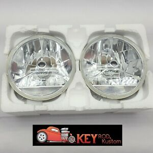 7 Round Black Dot Tri Bar Headlights W Clear Turn Signals H4 Street Rod Pair
