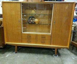 Mid Century European Modern China Cabinet Hutch Credenza Sideboard Bar