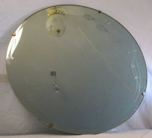 Vintage 24 Round Beveled Wall Mirror With A Reverse Cut Floral Design
