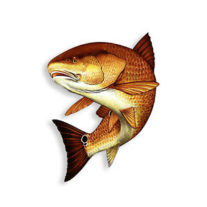Red Fish Sticker Swim Fishing Boat Tackle Box Cup Laptop Car Window Bumper Decal