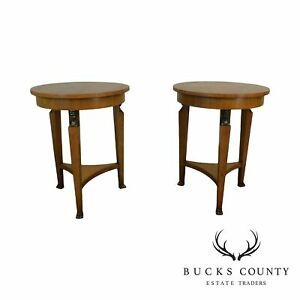 Baker French Empire Style Vintage Pair Round Walnut Side Tables