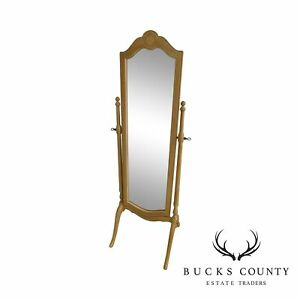 Ethan Allen Traditional White Washed Maple Cheval Mirror