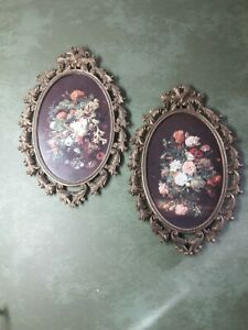 2 Vintage Ornate Oval Brass Glass Picture Frame Flowers Made In Italy 10 X 7