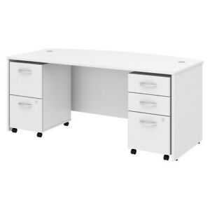 72w X 36d Bow Front Desk With 2 And 3 Dwr Mobile Pedestals Bshstc012wh