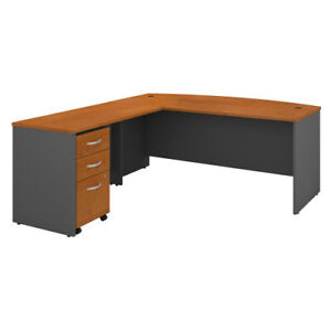 72w Bow Front Desk With 48w Return And 3 Dwr Mobile Pedestal Bshsrc084ncsu