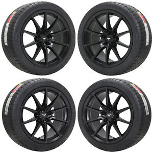 19x10 5 19x11 Ford Mustang Shelby Gt350 Black Wheels Tires Factory Oem Set 10053
